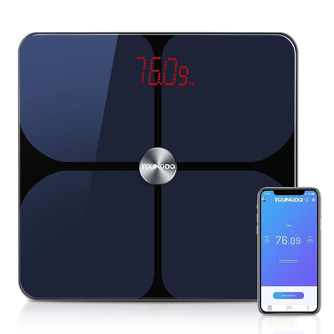 なぜならスリット断線YOUNGDO 体重計 体脂肪計 体組成計 Bluetooth スマホ連動 23種類測定可能 体重/体脂肪率/体水分率/推定骨量/基礎代謝量/BMIなど スマートスケール iOS/Androidアプリで健康管理?肥満予防 日本語APP対応 ヘルスケア?Fitbit?Google Fitと連携 999ユーザー登録可能