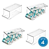 iDesign 70938M4 Plastic Canned Food and Soda Can Organizer with Lid for Refrigerator, Freezer and Pantry, BPA-Free, Set of 4, Clear