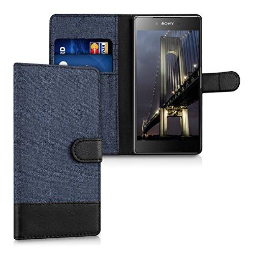 kwmobile Wallet Hülle kompatibel mit Sony Xperia Z5 Premium - Hülle mit Ständer - Handyhülle Kartenfächer Dunkelblau Schwarz