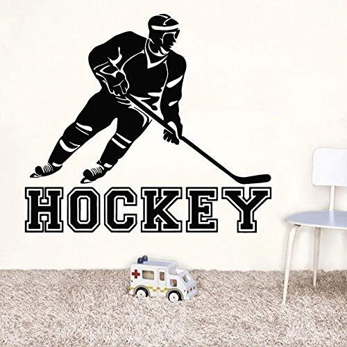 Jugador de hockey sobre hielo vinilo etiqueta de la pared etiqueta de...