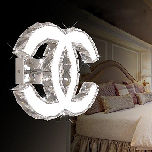 LED K9 Cristallo Luce a Muro 18W Moderno Acciaio Inossidabile Specchio Muro-Lighting Camera da Letto Soggiorno Sala Doppio C Decorativo Lampada a Muro Illuminazione Interna L27cm*L21cm Luce Bianca