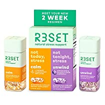 R3SET Day & Night Combo, Stress & Occasional Feelings of Anxiety & Sleep Support Supplement, with Chamomile, Vitamin D3, Omega 3, Valerian Root, Ashwagandha, L-Theanine & GABA, 28 Capsules