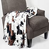 Home Soft Things Animal Printed Double Sided Faux Fur Throw, 50' x 60', Cow