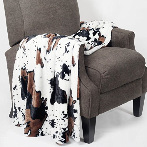Home Soft Things Cow Print Blanket Double Sided Faux Fur Animal Black White Brown Throw for Bedroom Living Room Sofa Couch Bed Outdoor Fleece Soft Cozy Throw Blanket, 50 x 60