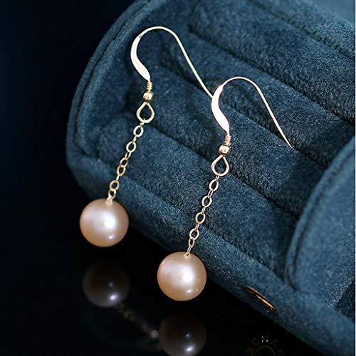 Pendientes Oído de la joyería Chapado en Oro Pendientes de Perlas de Agua Dulce seleccionada 14K de 9-9.5mm Mujeres Ganchos de los Pendientes Pendientes Pendientes de Las Mujeres aretes
