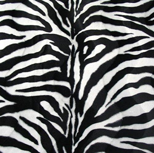 STOFFKONTOR Zebra Tierfellimitat Velboa Stoff Meterware