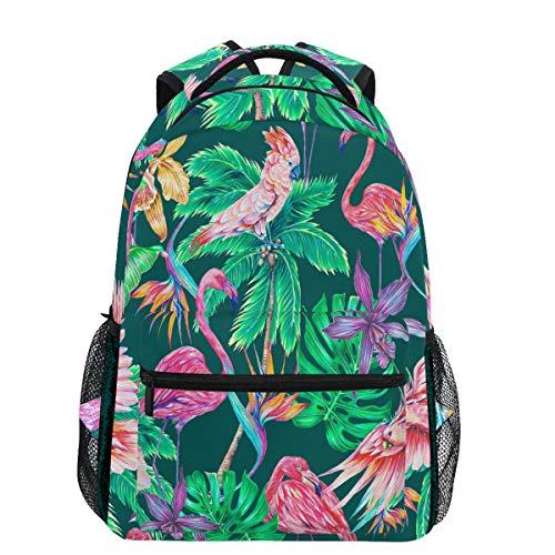 Oarencol Tropical Pink Flamingos Palm Floral Paradiesvogel Flor Jungla Hojas Mochilas Bookbags Daypack Travel School College Bag para Mujeres niñas Hombres jóvenes