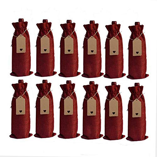 Bolsas de vino de arpillera, botellas de vino de yute natural, bolsas de regalo con etiquetas de cordón, para Navidad, boda, viajes, cumpleaños, fiesta de vacaciones, 10 unidades (rojo)