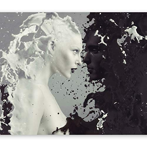 murando Fototapete Coffee & Milk 350x256 cm Vlies Tapeten Wandtapete XXL Moderne Wanddeko Design Wand Dekoration Wohnzimmer Schlafzimmer Büro Flur schwarz weiß Gesicht h-A-0050-a-a