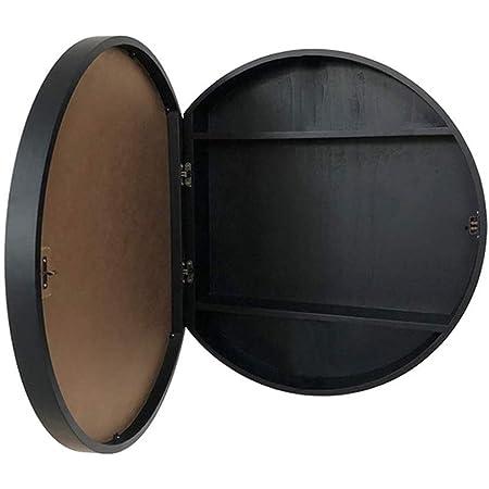 SDK Round Bathroom Mirror Cabinet, Bathroom Wall Storage Cabinet Mirror Medicine Cabinet with Slow-Close Wooden Frame 3 Level (Color : Black, Size : 50CM)