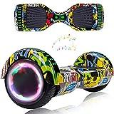 Wind Way Hover Board 6,5 Pouces - Bluetooth Musique - Puissance 700W - Overboard LED - Skateboard Électrique Auto Equilibrage - Balance Board Tout Terrain Adulte - Enfant Cadeau Pas Cher - Hiphop