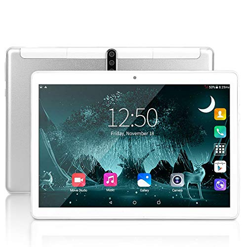 10 Zoll Android Tablet, Android 9.0, 5G Wi-Fi, 4GB RAM, 64GB ROM, Octa -Core Prozessor, IPS HD Display, 3G Phablet mit Dual SIM Card Slots, 5000 mah Akku, Bluetooth, GPS, E1 (Silber)