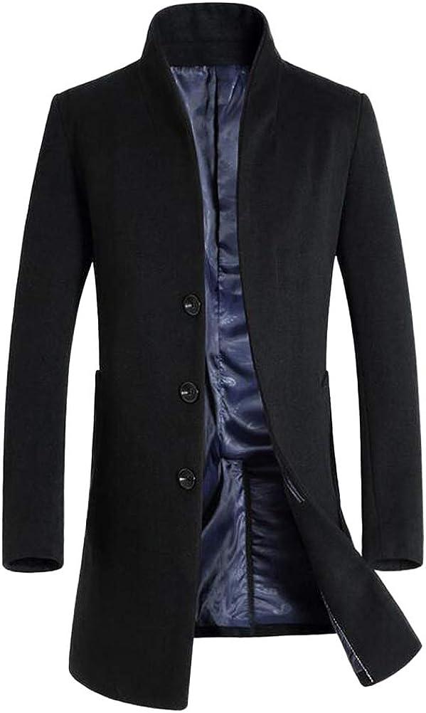 LaovanIn Men's Coats Winter Trench Coat Wool Long Pea Coat Jacket Business Suits