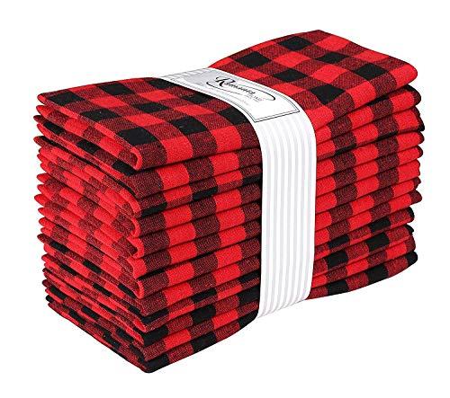 Cloth Dinner Napkin Gingham Plaid Check Fabric-18X18 Black Red, Wedding Napkins, Cocktails Napkins, Fabric Napkins, Cotton Napkins, Mitered Corners & Generous Hem, Dinner Napkins Set of 12