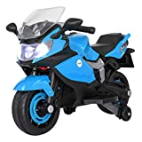 JAXPETY 6V Kids Ride On Motorbike with Training Wheel, Battery Powered Electric Motorcycle for Children 3-8 Years, Include Music Headlights, LED Lights, MP3 Player, Blue