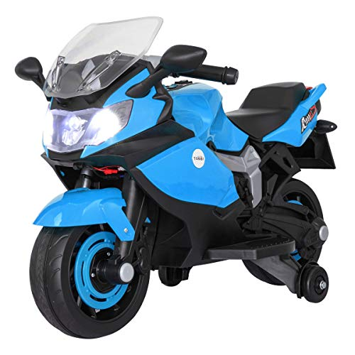 Sandinrayli Red Kid Ride on Motorcycle 6V Battery Powered Electric Racing Style Motorcycle with Training Wheels, Music Headlights, for Children Aged 3-8 (Blue)