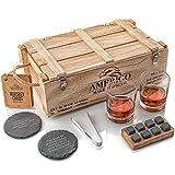 AMERIGO Idee Cadeau Homme Originale - Coffret Cadeau Pierres à Whisky avec Verres à Whisky - Cadeau Papa Anniversaire - Glacons Reutilisables - Coffret Whisky