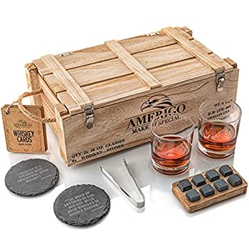 Whiskey Stones Gift Set for Men | Whiskey Glass and Stones Set with Rustic Wooden Crate 8 Granite Whiskey Rocks Chilling Stones 10oz Whiskey Glasses | Whiskey Gift For Men Dad Husband Boyfriend