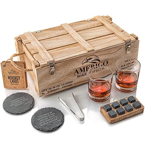 Idee Cadeau Homme Originale - Coffret Cadeau Pierres à Whisky avec Verres à Whisky - Cadeau Papa Anniversaire - Glacons Reutilisables - Coffret Whisky