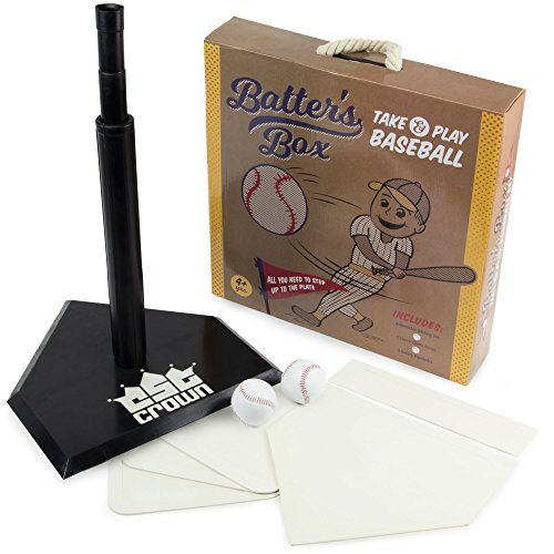 K-Roo Sports Batter's Box – Take & Play Baseball Set, Deluxe Youth Tee-Ball Starter Pack - Includes an Adjustable Batting Tee, 5 Rubber Bases, 2 Safety Balls, Carrying Case