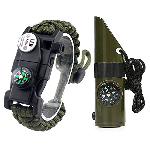 20-in-1 Survival Paracord Bracelet Kit ALEEGADO 7-in-1 Bear Whistle Knife Hiking for Men Vacation Essentials Fire Starter Outdoor Camping Compass Supplies Boys' Emergency Gear(2 pcs Set Army Green