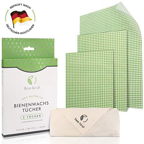 bee kind Bio Bienenwachstücher (grün) 4er Set - inkl. Baumwolltuch für Gemüse - Wiederverwendbare Wachstücher von Manuka Honig - Wachspapier für Lebensmittel