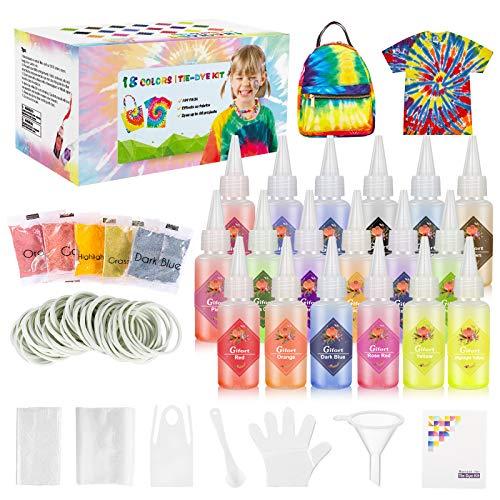 Gifort Tie Dye Kit, Textiles de Tela 18 Piezas Colores Vibrantes Pinturas Ropa Tinte Graffiti para...