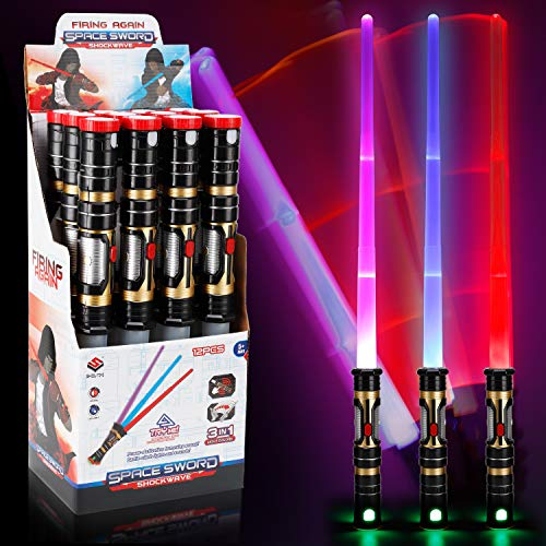 Liberty Imports Set of 12 Color Changing LED Laser Swords Expandable Light Up Sabers with Motion Sensitive FX Sound Effects (Bulk)