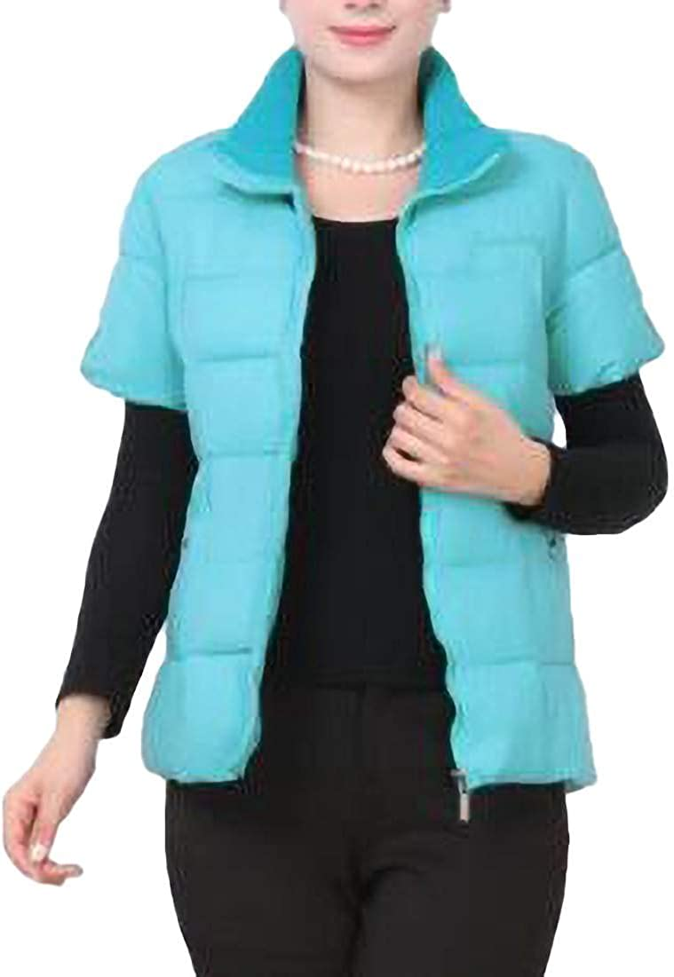 Abeaicoc Women's Short Sleeve Quilted Puffer Jacket Gilet Winter Thick Down Vest