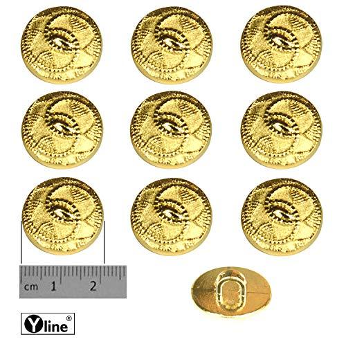 10 oogknoppen, kunststof goudkleurig 21 mm, voor het naaien van oogjes blazer kostuum sieraad knop, 3127-01-6.2