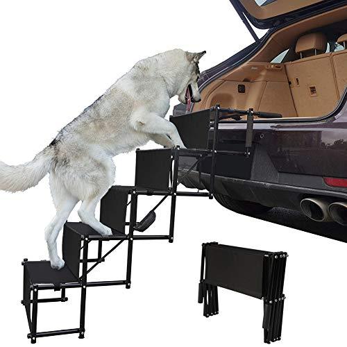 TaimeiMao Hundetreppe,Hundetreppe Hunderampe Klappbar für Auto,klappbare Treppe,Haustier Treppen Hunderampe, Rampe und Treppe für Ihr Hund und Haustier mit 4 Stufen