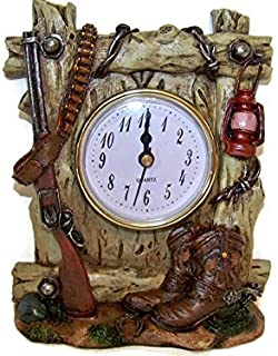 6 Inch Western Clock with Rifle and Lamp Boots Bullets