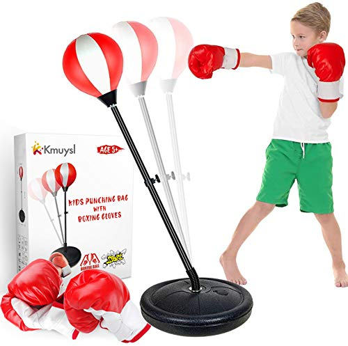 KMUYSL Punching Bag for Kids, Boxing Bag Set for Age 5,6,7,8,9,10, Height Adjustable Punching Bag Incl Boxing Gloves, Best Toy Gift for Boys