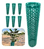 Smart Spring Plant and Tree Guard Protector; Wrap Tall Expandable Grow Tubes Around Trunk Bark, Landscape Plants, Saplings, and Vines; Protection from Trimmers, Weed whackers, and Animals (6, Green)