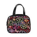 Cute Woman Bags Hippie Wallpaper con el símbolo de la paz Setas y bolsos de moda Cute Tote Bag Pu Leather Top Handle Satchel Fashion Bag Women
