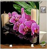 QAZX Duschvorhang Polyester Schmetterlings Orchideen Blume Badewannenvorhang Wasserdicht Fuchsie Duschvorhang 180x180cm