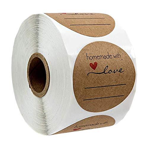 500pcs Pegatinas Etiqueta Adhesiva Pegatina Rollo, redondas, Kraft Handmade with Love Stickers Labels Roll para Sello Scrapbooking Regalo Bolsa Recuerdo Boda Fiesta Aniversario Cumpleaños