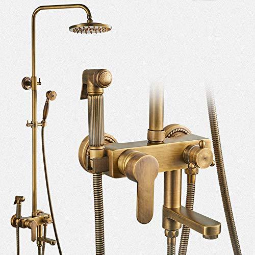 Kupfer EuropäIsch Antik Duschset Dusche Bad Booster Spritzpistole DamenwäSche Duschkopf Vier ZahnräDer Mischventil Bad.