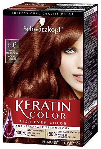 Schwarzkopf Keratin Color Permanent Hair Color Cream, 5.6 Warm Mahogany(Packaging May Vary)