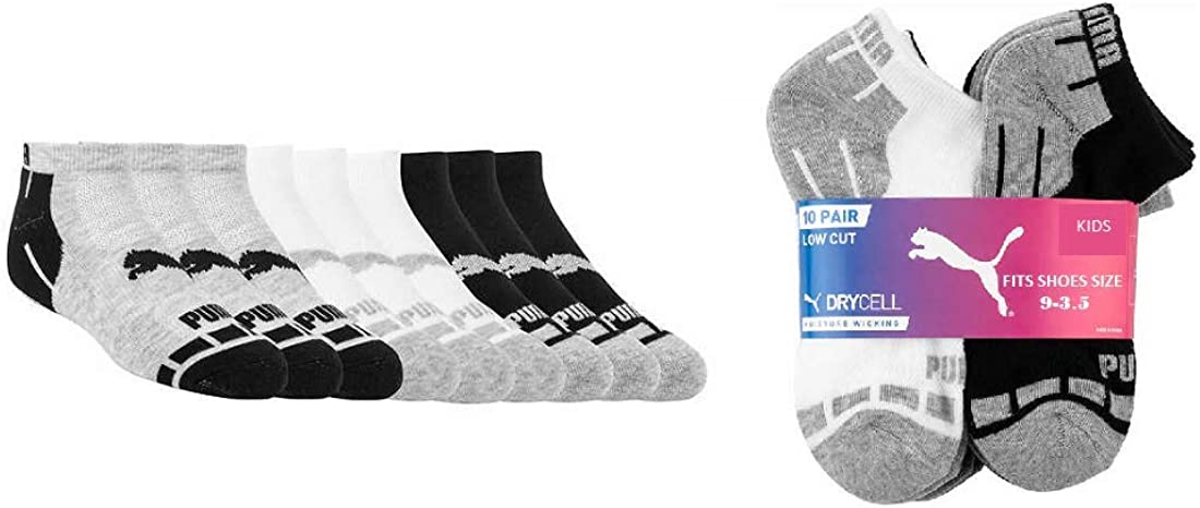 Amazon.com: Puma Low Cut Kids Socks Dry Cell Moisture Wicking Stay ...