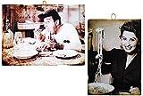 KUSTOM ART Juego de 2 cuadros de estilo vintage con famosos actores Alberto Sordi y una Juvenil Sofia Loren. Impresión sobre madera para decoración de restaurant y pizzerías bar hotel