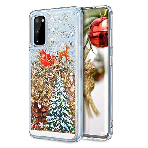 CinoCase Galaxy S20 Case 3D Liquid Case [Christmas Collection] Flowing Quicksand Moving Stars Bling Glitter Snowflake Christmas Tree Santa Claus Pattern Hard Case for Samsung Galaxy S20 6.2 inch Gold