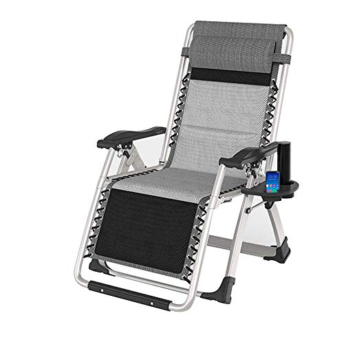 N\C Zero Gravity Lounge Chair, Folding Patio Lawn Recliner Chairs with Headrest Side Table, Extra Wide Chaise Lounge for Poolside Outdoor Yard Beach, Support 550lbs