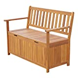 Outsunny 47' Wooden Outdoor Storage Bench with Removable Waterproof Lining