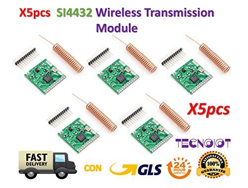 TECNOIOT 5pcs SI4432 Wireless Module 470MHz 433MHz 1000m Wireless Communication Module