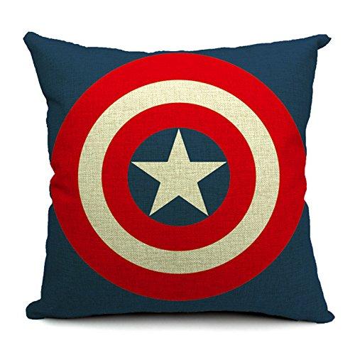 SilkCrane, Captain America's shield Printed Cotton Linen Decorative Throw Pillow Cover, 17.7' x 17.7'