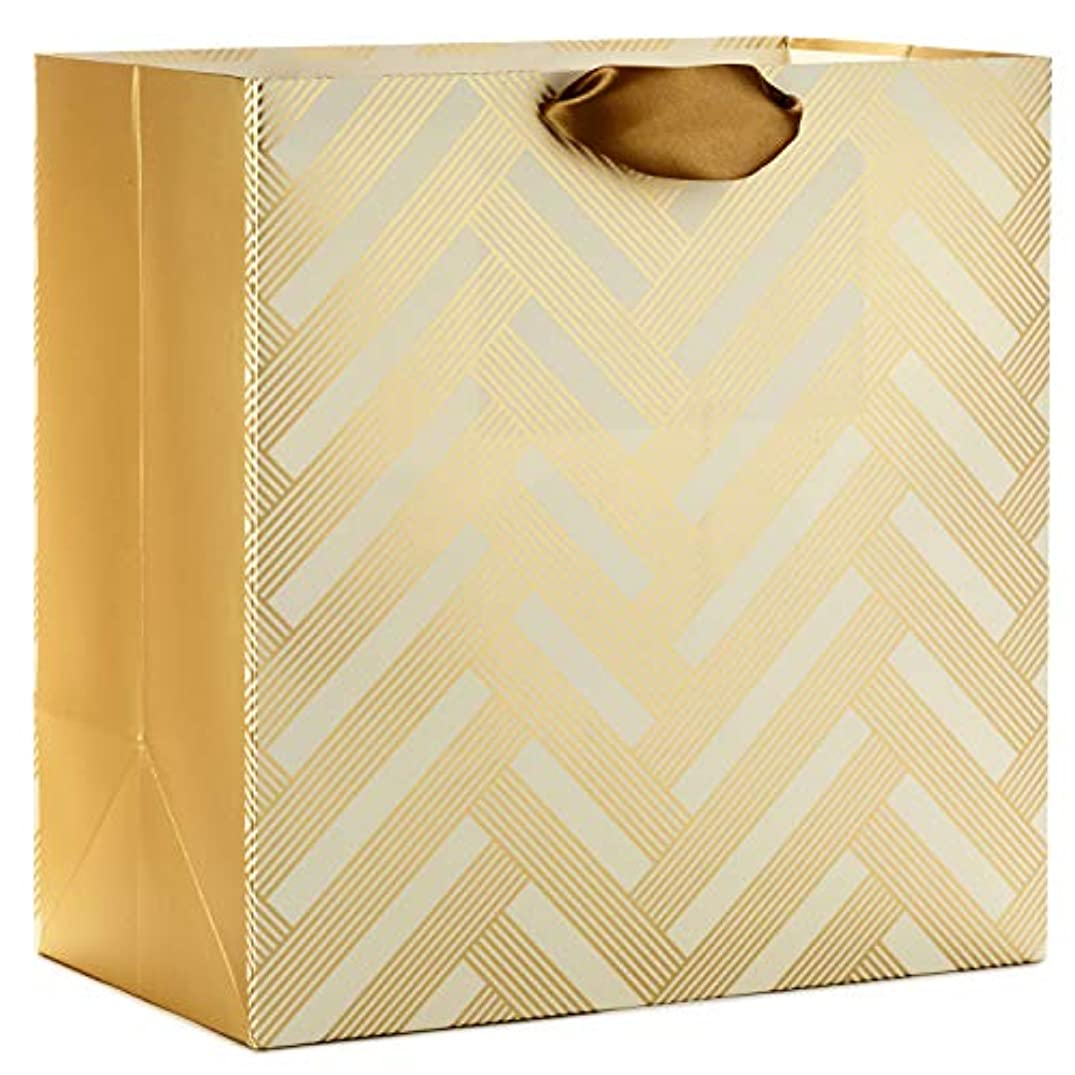 Hallmark Signature Oversized Gift Bag, White and Gold (Weddings, Bridal Showers, Birthdays, All Occasion)