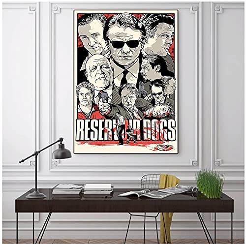 Tiiiytu Reservoir Dogs Canvas Painting Vintage Poster Print Classic Movie Wall Art Canvas Painting Prints for Living Room Decor-50x70cm No Frame