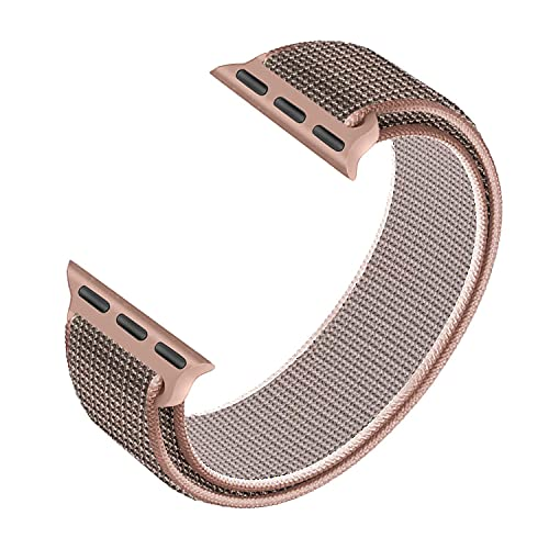 Elastic Braided Nylon Loop Compatible with Apple Watch Bands 38mm 40mm 42mm 44mm, Women Men Adjustable Velcro Buckle Sport Strap Wristband for iWatch Series 6/5/4/SE/3/2/1,(Pink Sand,42mm/44mm)