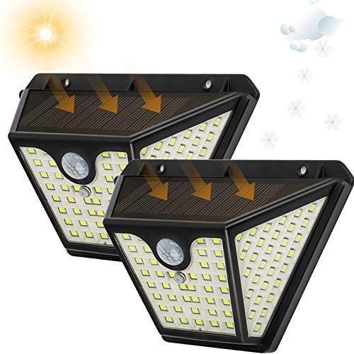 Solarlampe für Außen mit Bewegungsmelder 1500 Lumen 102 LED Weiss, TASMOR Solar Aussenleuchten 2 Stück, Wasserdichte Solarleuchten Wandleuchte 2000mAh für Garten Balkon Garage, 3 Beleuchtungsmodi